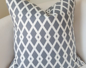 Gray Pillow Decorative Throw Pillow Cover Couch Cushion Accent  Trellis Lattice