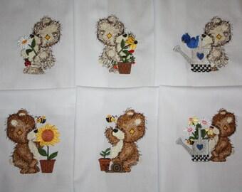 Garden Teddies machine Embroidered Quilt Blocks Set
