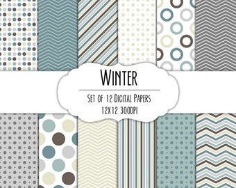 Winter Digital Scrapbook Paper 12x12 Pack - Set of 12 - Polka Dots, Chevron, Stripes - Instant Download - Item# 8061