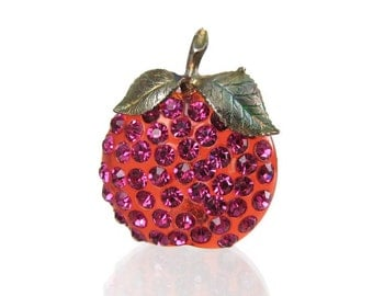 Forbidden Fruit Brooch - Vintage 1940s Lucite & Rhinestone Apple or Plum Pin, Hot Pink Austrian Crystal Encrusted Fruit, Sparkling Fruit