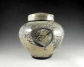Urn, Pet Urn or Keepsake Urn Clear Crackle Raku  with the Continuum of Life Emblem