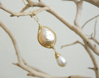 Beatrice necklace-finest Kasumi cultured freshwater pearl smooth briolette wire wrapped and coiled 14k gold pendant necklace
