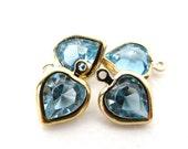 Vintage Crystal Heart Charm Drop Made With Aqua Swarovski Crystal Rhinestones vgb0772 (4)