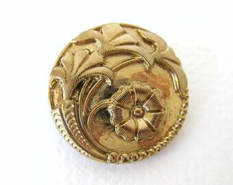 Vintage Czech Button Flower Gold Glass Shank 26mm but0172 (1)