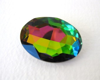 Vintage Glass Rhinestone Vitrail Jewel Faceted Oval Foiled 29x21mm rhs0481 (1)