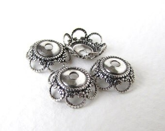 Antiqued Silver Ox Flower Bead Cap Heart Filigree Vintage Style 10mm bcp0040 (6)