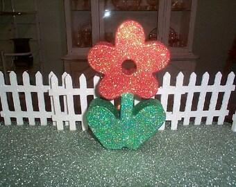 glittered  Handmade FLOWER sculpture  ORANGE &  Green Original Design~