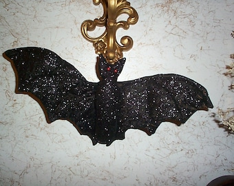 Fab glittered black BAT Red Beady Eyes Wire In wings  Handmade~