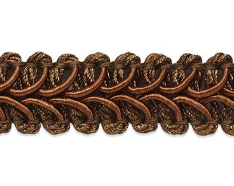 90 cents/yard -- Cocoa Brown Braided Gimp Trim -- Home Decor Quality and Weight -- 3 yards -- 1/2 inch wide