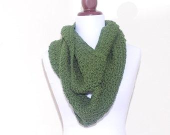 AMAZING Circle Scarf - OLIVE GREEN - handmade crochet scarf, circle scarf, fall winter fashion, cowl neckwarmer shawl collar
