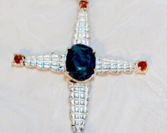 Sterling Silver Emerald Cross Pendant