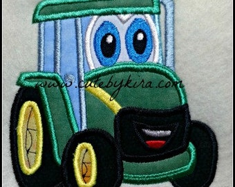 Friendly Tractor Applique Embroidery Design