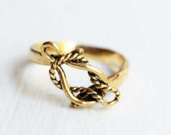 Rope Knot Ring, Gold Knot Ring, Knot Ring, Silver Knot Ring, Silver, Bronze, Gold