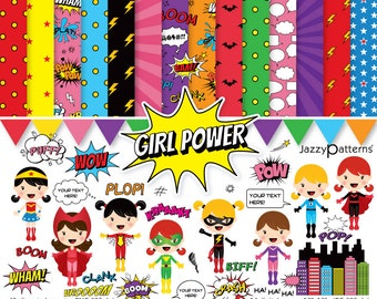 Superhero Girls clipart and digital paper pack DK024 instant download