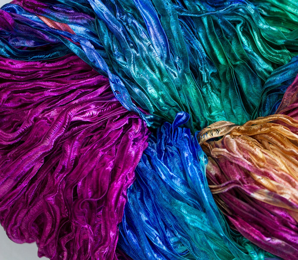 Party Hand Dyed Ribbon Yarn Aurora Nylon 395 By