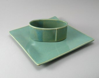 Serving Plate, Ceramic Plate, Appetizer Set, Cheese Plate, Cracker Dish, Teal Pottery, Ready to Ship