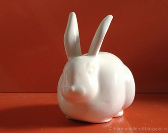 White Cottontail Bunny Rabbit Ceramic Cotton Ball Holder Made to Order