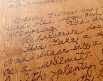 Custom order for wood burned BAMBOO cutting board - large