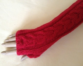 Fingerless Gloves Arm Wrist Warmers, Scarlet (red), Luxury Hand Knitted Soft Merino Wool Extra Long Mittens 17 Colours