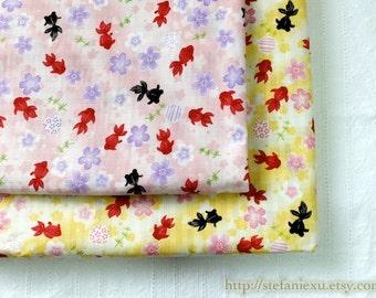 Lovely Swimming  Fish Goldfish Cherry Blossom Sakura Ocean, Summer Color-Japanese Cotton Fabric (1/2 Yard)