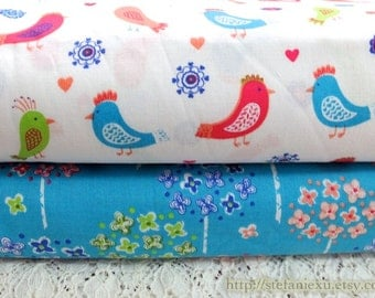 Love Of Nature, Colorful Spring Birds and Aqua Blue Shabby Chic Bouquet Floral Tree Collection, Choose Pattern - Cotton Fabric (Fat Quarter)
