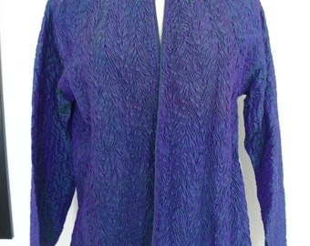 Najika Irridescent Shirred Purple Silk Mandarin Collar Jacket Size M
