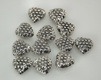 Heart Beads - Embossed Bali Sterling Silver - 6 Beads