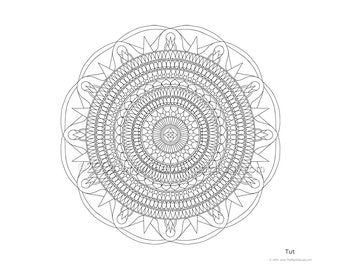Mandala to Color: Tut - 11x8.5 - PDF VERSION