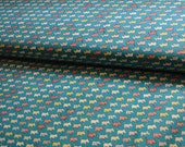 Blue colorful terrier doggie fabric from Kokka Japan - Half Yard Only