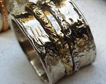 Meditation Ring. Spinner ring. Silver and gold 9 carat rings