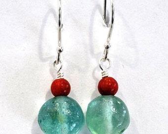 Roman glass earrings dangling silver earrings Israeli roman glass jewelry with coral