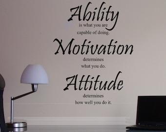 Ability, Motivation, Attitude, Lou Holtz, Vinyl Wall Decal