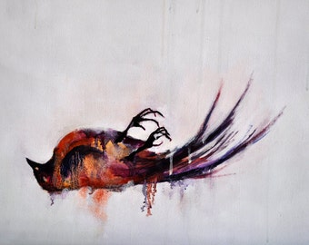 Bird study 6 Original abstract painting , bird art LARGE 28x28 inch UNSTRETCHED Rolled in a tube