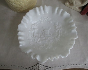 50s Decorative Milk Glass Bowl WINDMILL Ruffled Imperial Glass