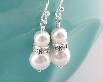 Bridal Pearl Earrings, White Swarovski Pearl, Sterling Silver, Bridesmaid Gift, Bridal Jewelry, Wedding, White Pearl