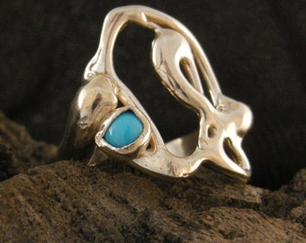 RING STERLING SILVER Bezel Set 4 mm Turquoise Stone on Uniquely Shaped Free Flowing Edges,ooak,Cast Using Lost Wax Method High Polished .