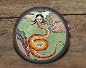 Nuwa SNAKE GODDESS Tie tack or Cuff links or Ring or Pendant or Brooch