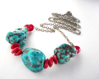 Long turquoise coral necklace, boho layering necklace, red coral and turquoise blue beaded antique brass chain necklace