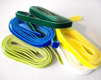 6mm assortment, elastic velvet ribbon lot of 5 colors, Set of five colors mix,  total 5 yards 1/4 inch 6mm stretch velvet  ribbon