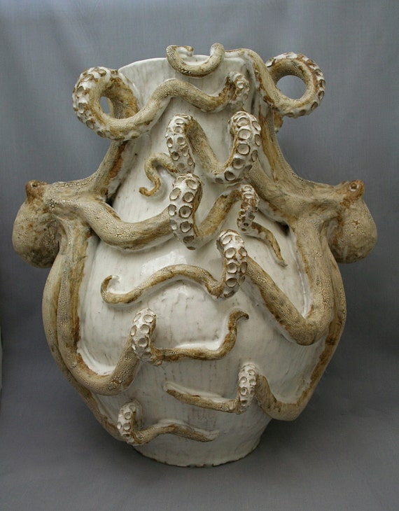 Giant Ceramic Octopus Vase by Shayne Greco Beautiful Shabby Chic Mediterranean Sculpture Pottery