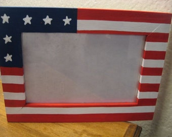 Fourth of July 4th of July Americana Patriotic flag family picture photo frame