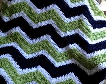 new chevron zig zag baby blanket afghan wrap crochet knit wheelchair ripple stripes VANNA WHITE yarn navy blue green white handmade in USA