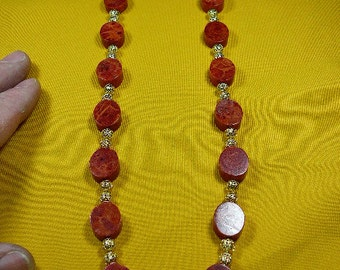 23 inch long red sponge coral disk and gold tone Beads bead beaded Necklace jewelry V41-1