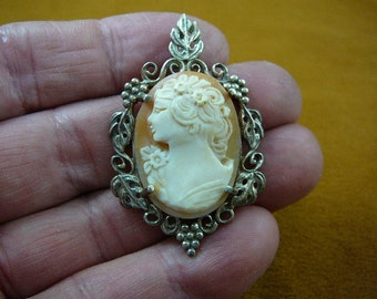 Vintage Woman with nose up in roses inher hair oval carved shell CAMEO sterling silver pin c1312