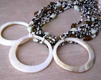 Boho Statement Necklace, Statement Necklace, Shell Necklace, Shell Statement Necklace, Boho Necklace, Tribal Necklace, Bohemian Jewelry