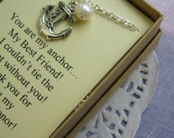 Anchor Bridesmaids Gift Necklace. Freshwater pearl. FREE Personalized Card Jewelry Box.