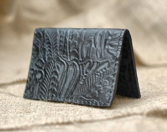 Simple Leather Wallet - Leather Fold Card Wallet or Business Card Holder - READY TO SHIP!