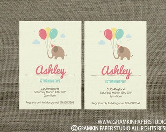 Instant Download-Brown Elephant Ballon Birthday Invitation