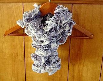 Beautiful Knitted Dark Blue Medium Blue Light Blue Ruffled Scarf