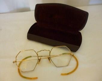 SALE Vintage ARTCRAFT 12K Gold Filled Eyeglass Frames, 1930s Eyewear, Glasses, With Case